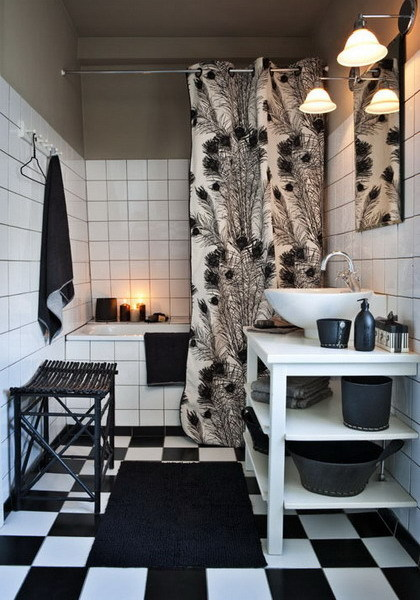 Aca lv melnbaltais kino idejas vannas istabai - Grey black and white bathroom decor ...